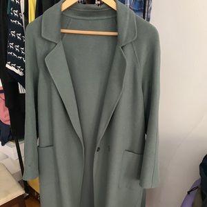 Mocha Long Wool Coat Size M